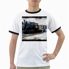The Steam Train White Ringer Mens'' T-shirt