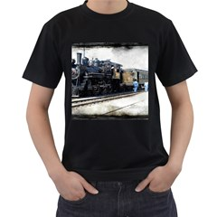 The Steam Train Twin-sided Black Mens'' T-shirt