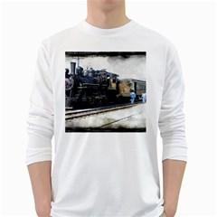 The Steam Train White Long Sleeve Man''s T Shirt