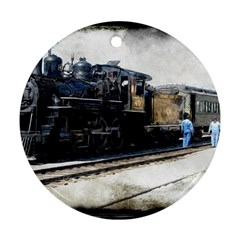 The Steam Train Twin Sided Ceramic Ornament (round)