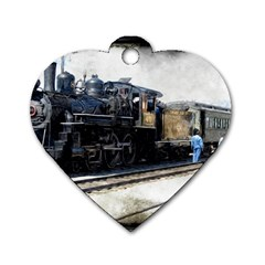 The Steam Train Twin Sided Dog Tag (heart)