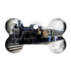The Steam Train Single Sided Dog Tag (bone)