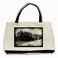 The Steam Train Twin-sided Black Tote Bag