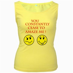 Cease To Amaze Yellow Womens  Tank Top