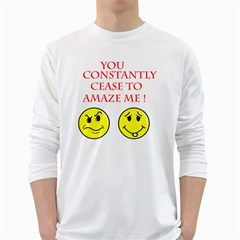 Cease To Amaze White Long Sleeve Man''s T Shirt