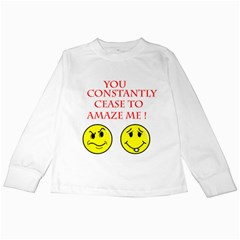 Cease To Amaze White Long Sleeve Kids'' T Shirt
