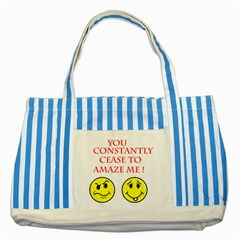Cease To Amaze Blue Striped Tote Bag