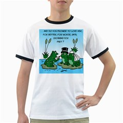 Frogswedding White Ringer Mens'' T-shirt