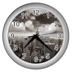 New York, USA Silver Wall Clock