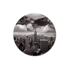 New York, USA 4 Pack Rubber Drinks Coaster (Round)