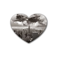 New York, Usa 4 Pack Rubber Drinks Coaster (heart)