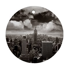 New York, Usa Twin Sided Ceramic Ornament (round)