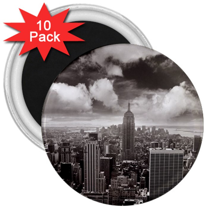 New York, USA 10 Pack Large Magnet (Round)