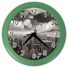 New York, USA Colored Wall Clock