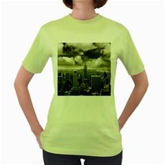 New York, Usa Green Womens  T Shirt