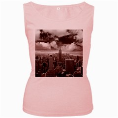 New York, USA Pink Womens  Tank Top