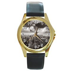 New York, Usa Black Leather Gold Rim Watch (round)