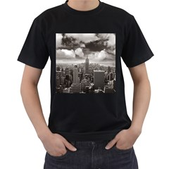 New York, USA Twin-sided Black Mens'' T-shirt