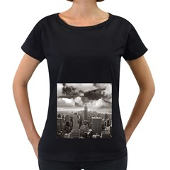 New York, Usa Black Oversized Womens'' T Shirt