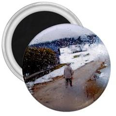 rainy day, Salzburg Large Magnet (Round)