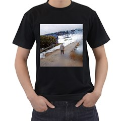 rainy day, Salzburg Twin-sided Black Mens'' T-shirt