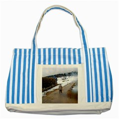 Rainy Day, Salzburg Blue Striped Tote Bag