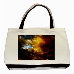Cloudscape Twin-sided Black Tote Bag
