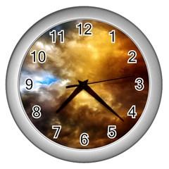 Cloudscape Silver Wall Clock