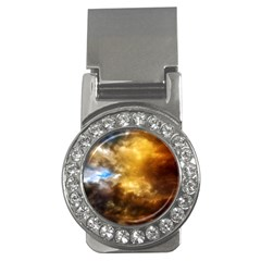 Cloudscape Money Clip With Gemstones (round)