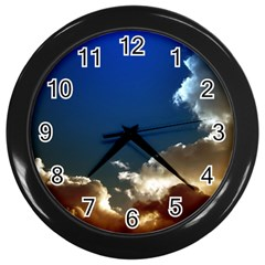Cloudscape Black Wall Clock