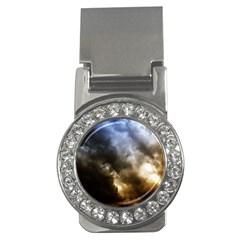 Cloudscape Money Clip With Gemstones (round)