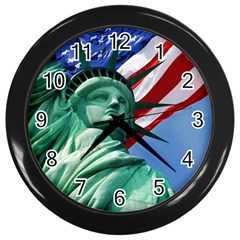Statue Of Liberty, New York Black Wall Clock