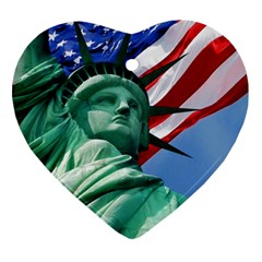 Statue of Liberty, New York Heart Ornament (Two Sides)