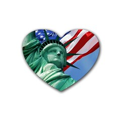 Statue of Liberty, New York Rubber Drinks Coaster (Heart)