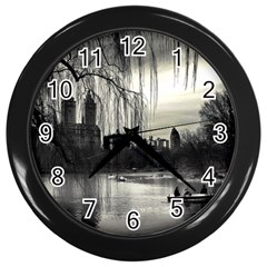 Central Park, New York Black Wall Clock
