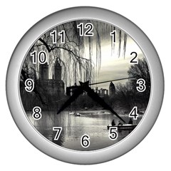 Central Park, New York Silver Wall Clock