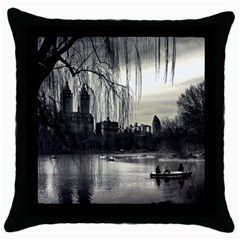 Central Park, New York Black Throw Pillow Case