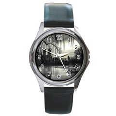 Central Park, New York Black Leather Watch (Round)