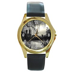 Central Park, New York Black Leather Gold Rim Watch (Round)