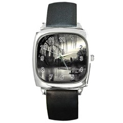 Central Park, New York Black Leather Watch (Square)