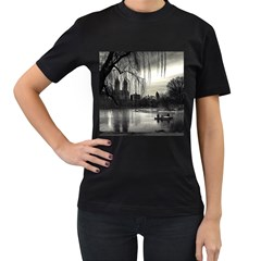Central Park, New York Twin-sided Black Womens'' T-shirt
