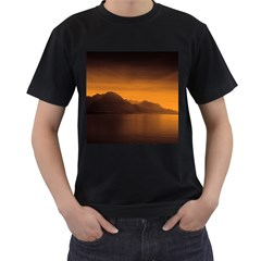 Waterscape, Switzerland Twin-sided Black Mens'' T-shirt