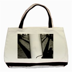 lines Twin-sided Black Tote Bag