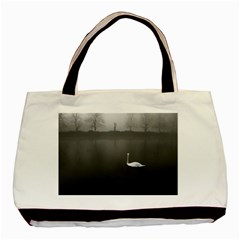 swan Twin-sided Black Tote Bag