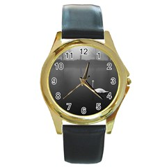 Swan Black Leather Gold Rim Watch (round)