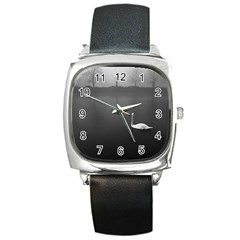 swan Black Leather Watch (Square)