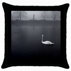 swan Black Throw Pillow Case