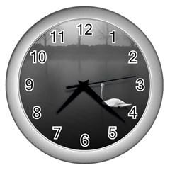 Swan Silver Wall Clock