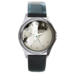 swan Black Leather Watch (Round)