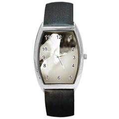 swan Black Leather Watch (Tonneau)